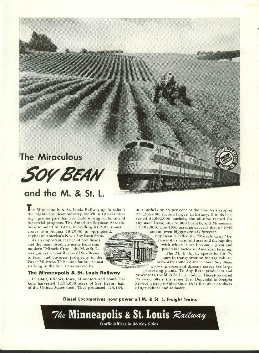 Image for The Miraculous Soy Bean & the Minneapolis & St Louis Railway ad 1950