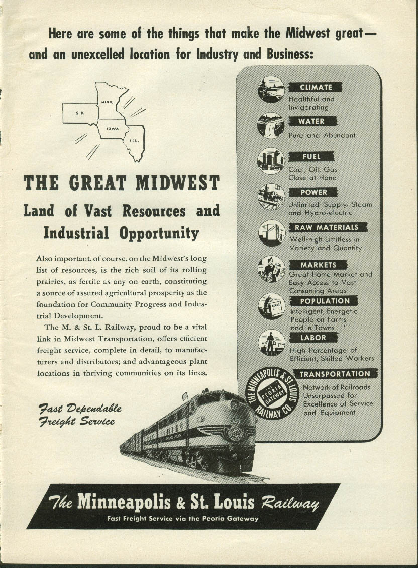 Great Midwest Land of Resources Minneapolis & St Louis Railway ad 1952