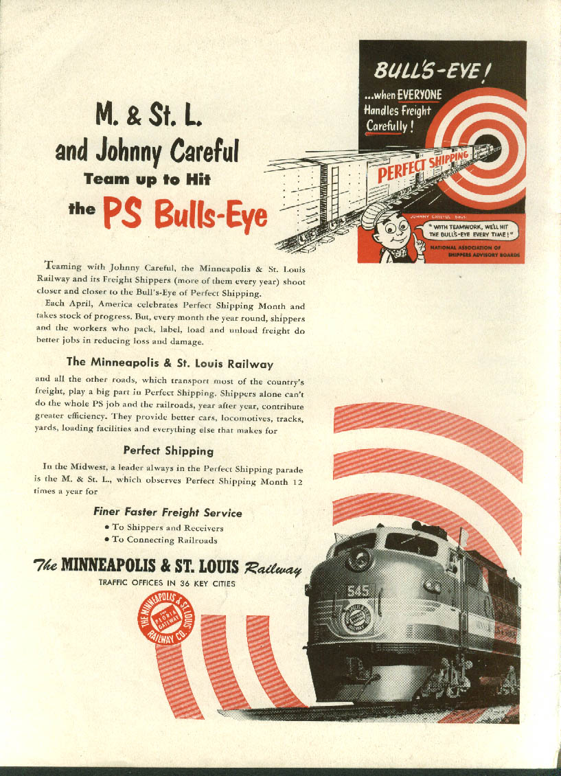 Johnny Careful hits the PS Bulls-eye Minneapolis & St Louis Railway ad 1953
