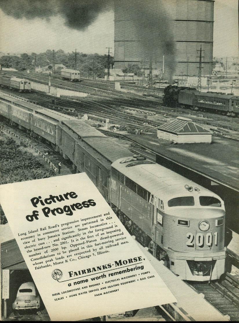 Image for Picture of Progress Long Island RR Fairbanks-Morse Locomotive ad 1950