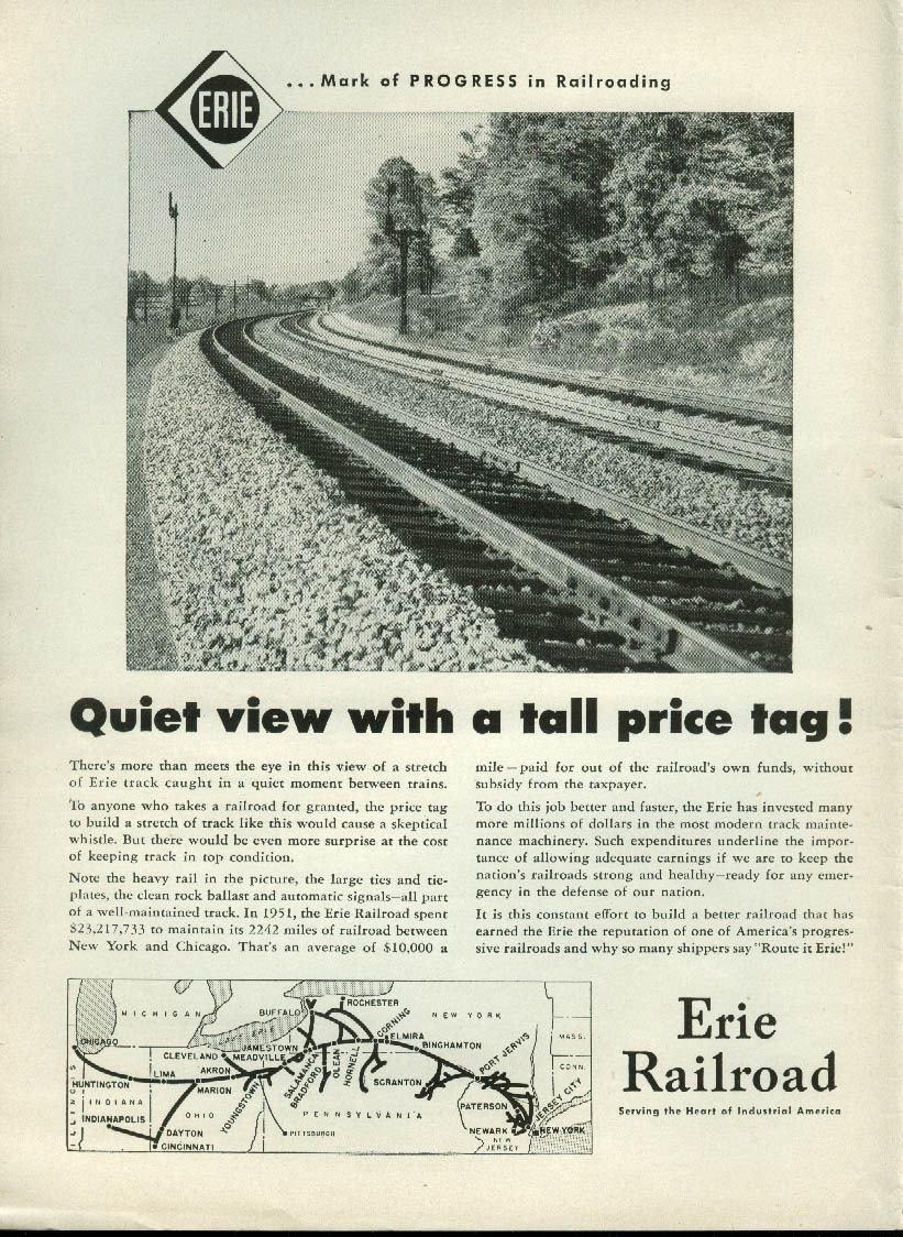 Image for Quiet view with a tall price tag Erie Railroad ad 1952