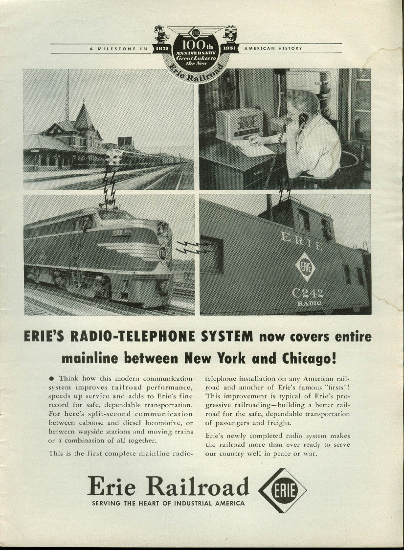 Image for Erie Railroad radio-telephone system covers New York to Chicago ad 1951