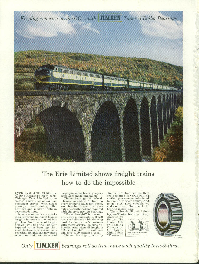 Erie RR Limited shows freights how to do impossible Timken Bearings ad 1955