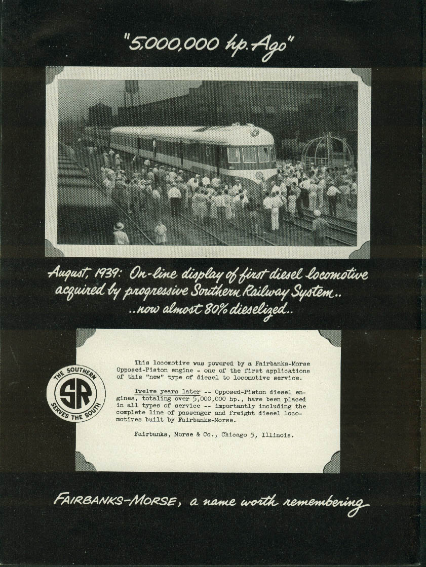 5,000,000 HP ago Southern RR Fairbanks-Morse Opposed-Piston Loco ad 1951