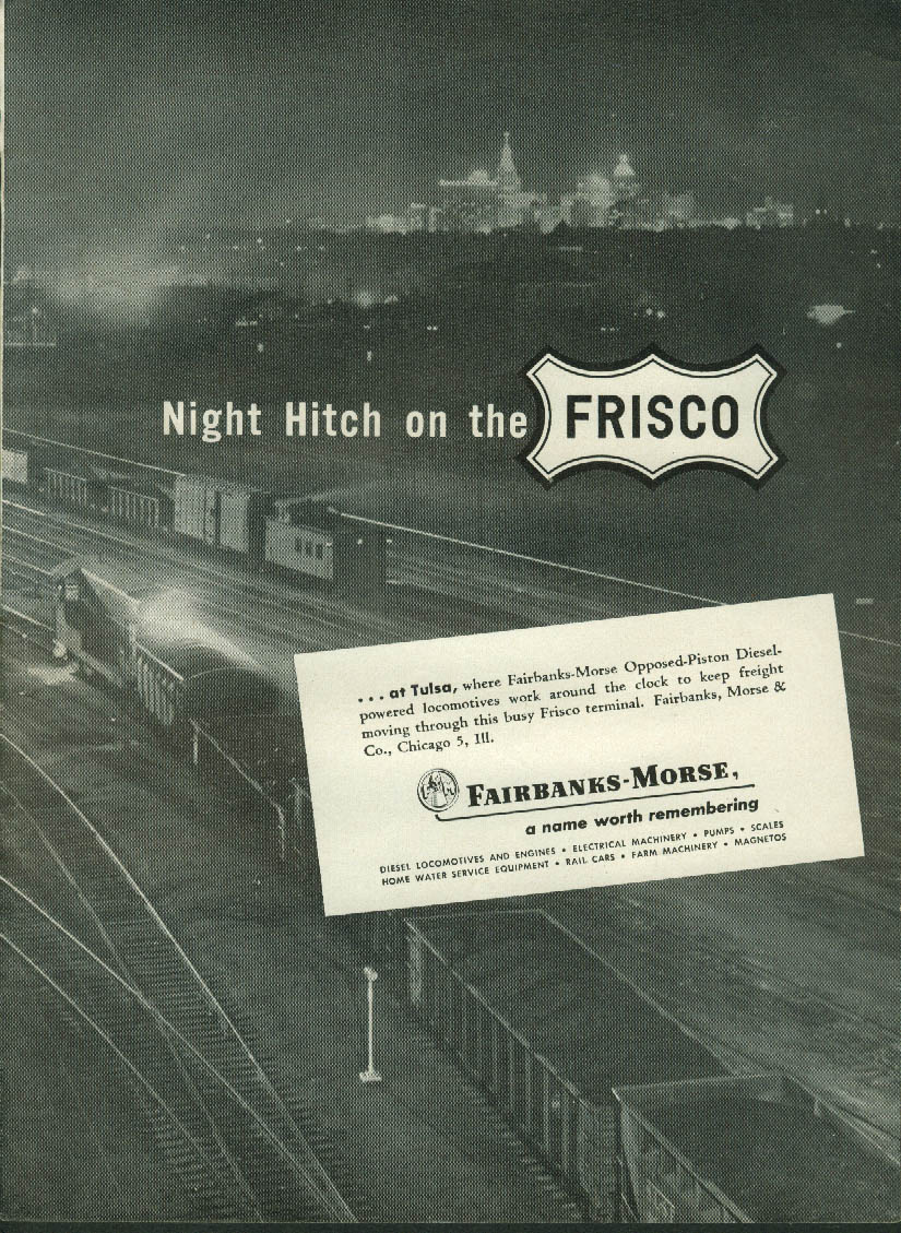 Image for Night Hitch on the Frisco Fairbanks-Morse Opposed-Piston Diesel Locos ad 1951