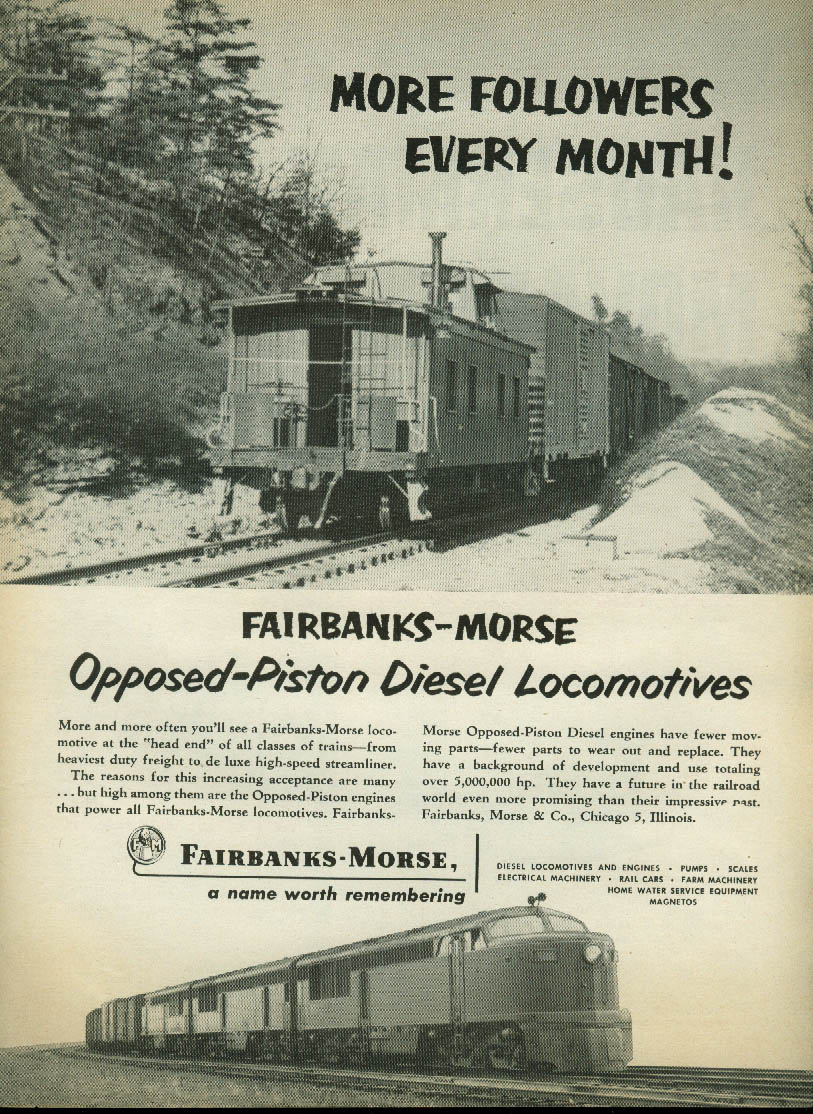 Image for More followers every month! Fairbanks-Morse Opposed-Piston Locomotives ad 1951