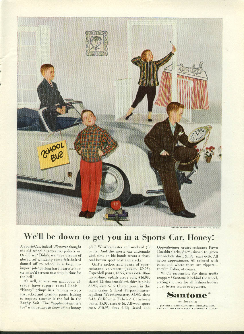 Image for We'll get you in a Sports Car Santone Juvenile clothes Porsche ad 1955