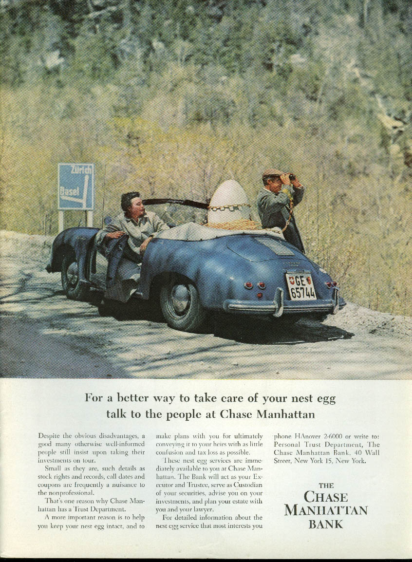 For a better way to care for your nest egg Chase Manhattan Porsche ad 1959