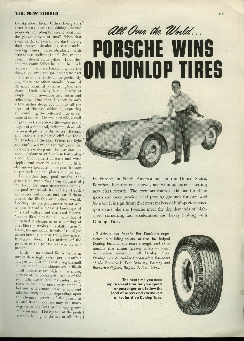 All Over the World Porsche wins on Dunlop Tires ad 1955