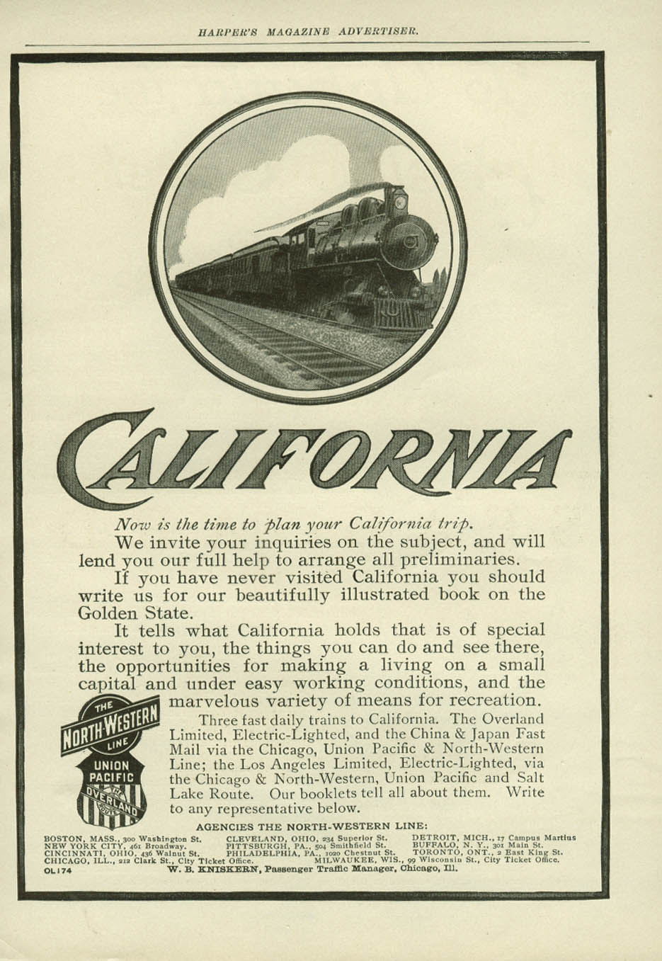 Image for Time to plan your California Trip North-Western & Union Pacific ad 1907