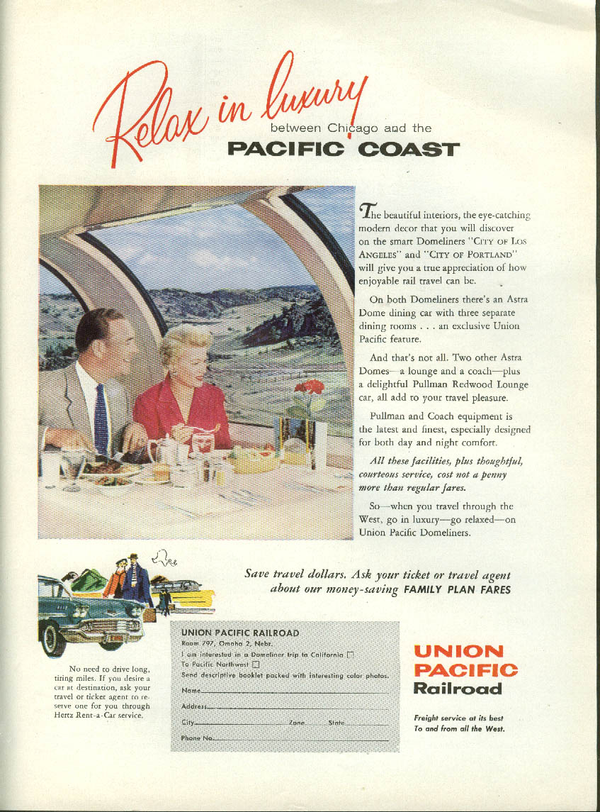Image for Relax in Luxury Union Pacific RR Domeliners / Paul Rand CCA ad 1959