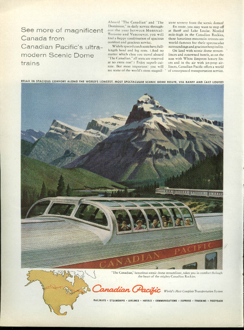 Image for See more from Canadian Pacific Railway Scenic Domes ad 1959