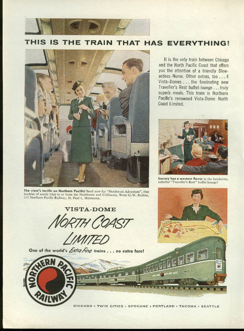 Image for The train that has everything Northern Pacific North-Coast Limited ad 1956