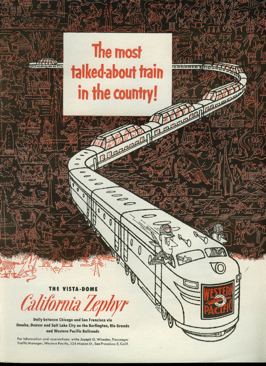 Most talked about train! Western Pacific California Zephyr Vista-Dome ad