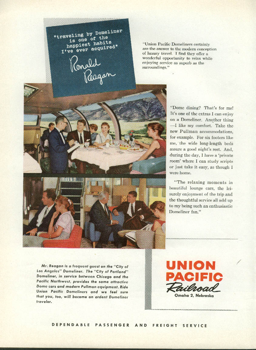 Image for Ronald Reagan travels by Union Pacific RR Domeliner ad 1959