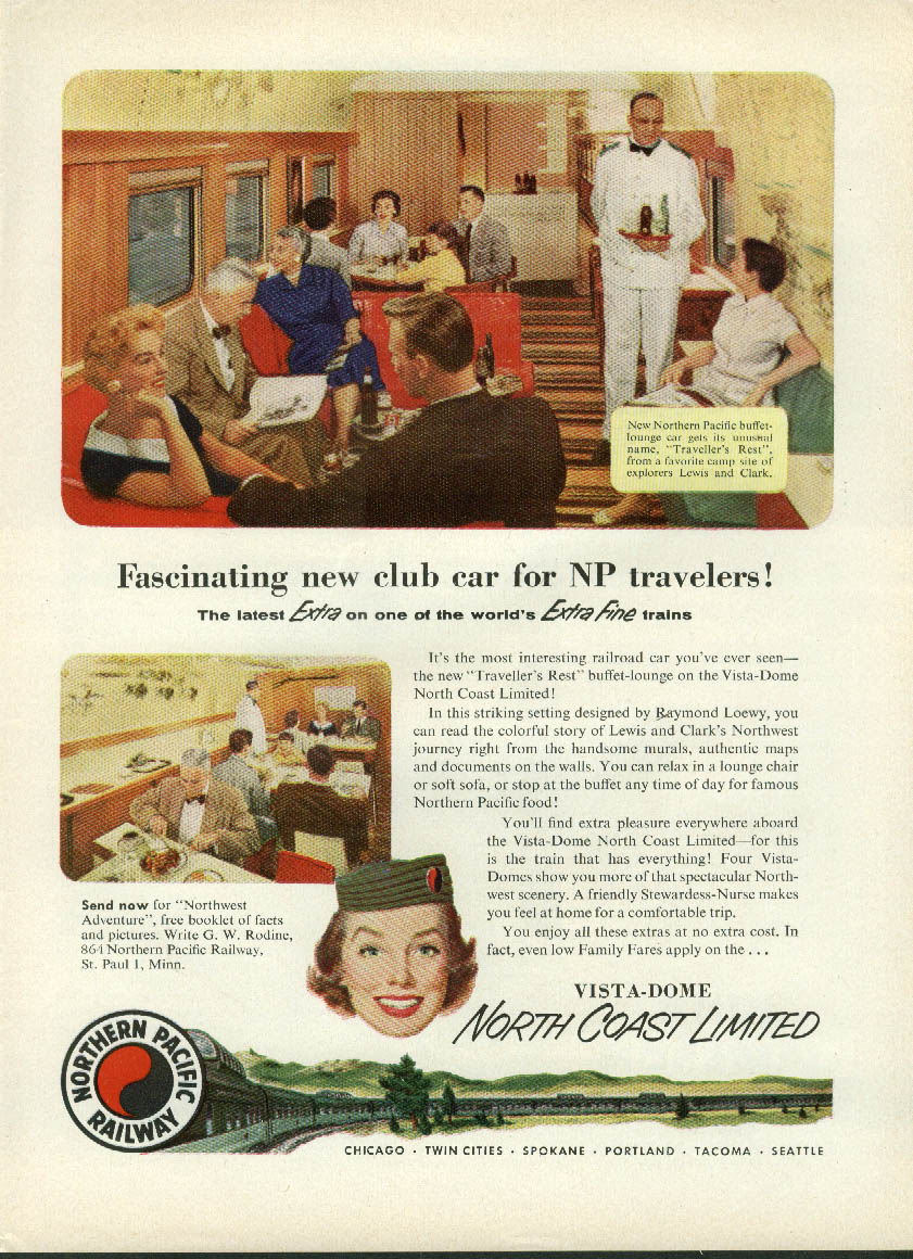 Image for Fascinating new Club Car on Northern Pacific North-Coast Limited ad 1955
