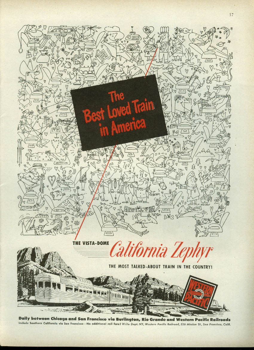 Image for Best loved train Western Pacific California Zephyr Vista-Dome ad 1951