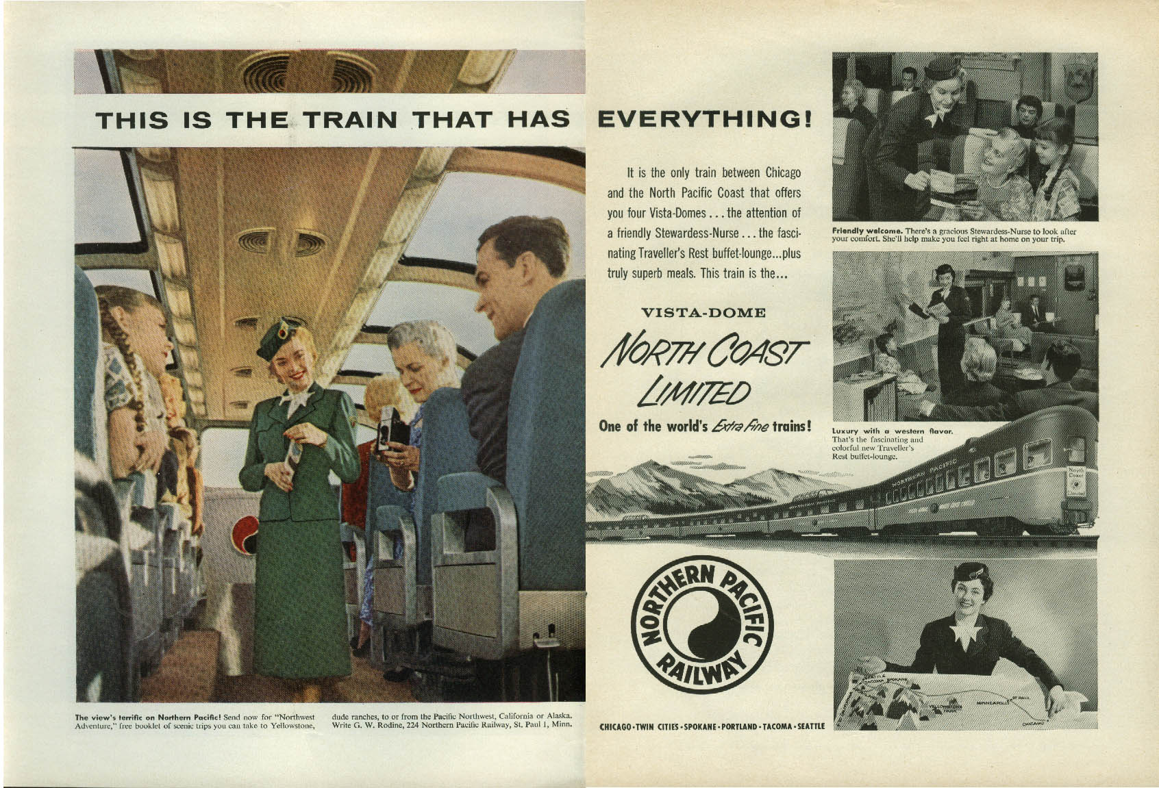 Image for Train that has everything North Coast Limited Northern Pacific Ry 2-page ad 1956