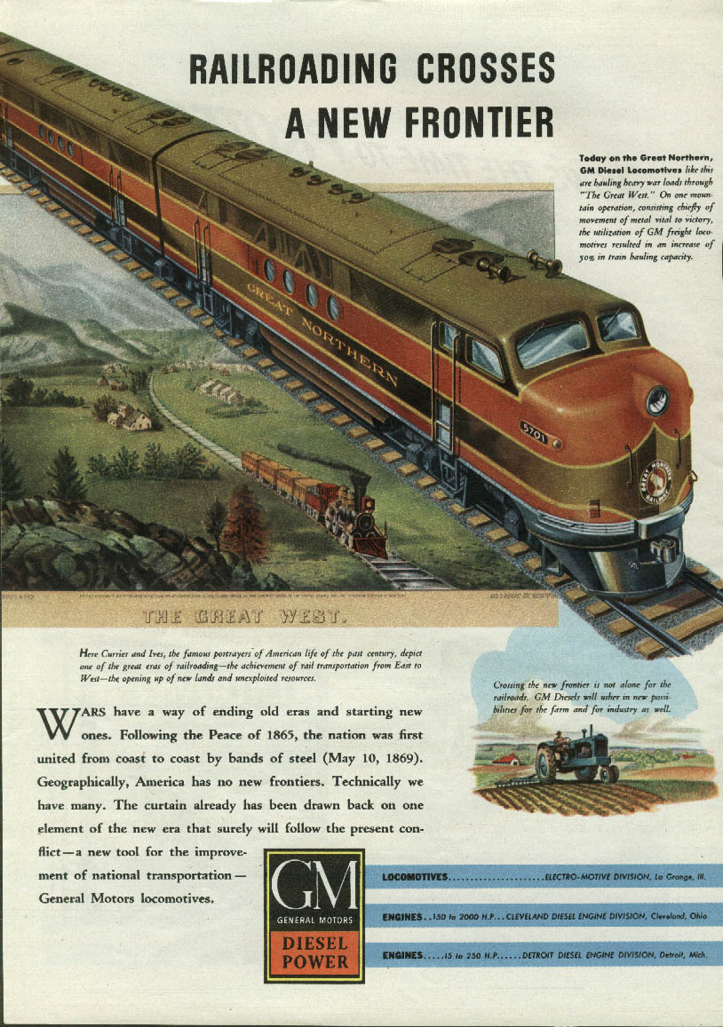 Image for Railroading Crosses a New Frontier Great Northern GM Diesel Power ad 1943