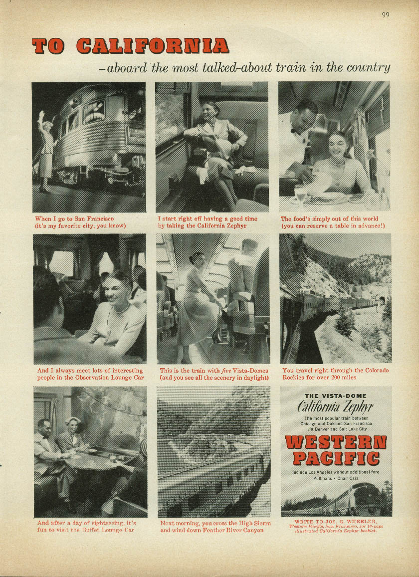 Image for To California on the most talked about train The Western Pacific Zephyr ad 1955