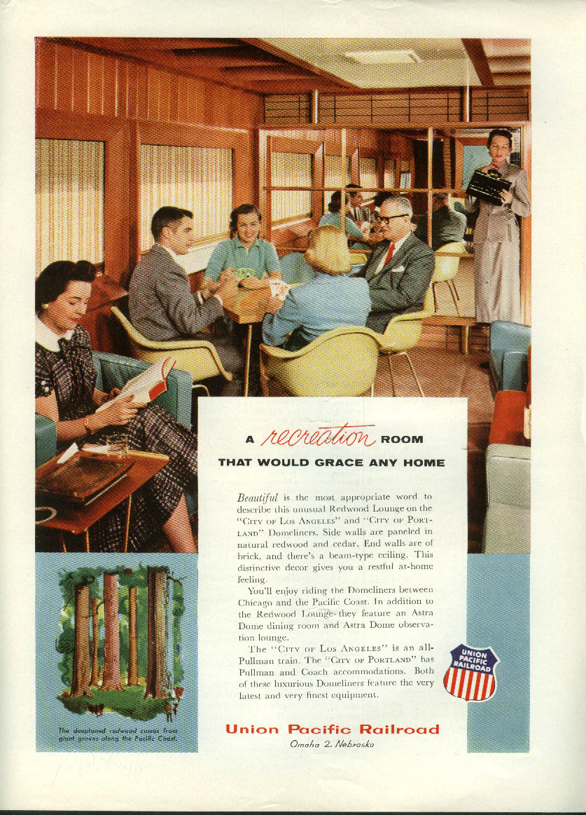 Image for A Recreation Room that would grace any home Union Pacific RR ad 1956