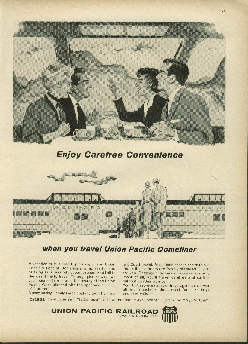 Image for Enjoy Carefree Convenience - Travel Union Pacific Domeliner ad 1964