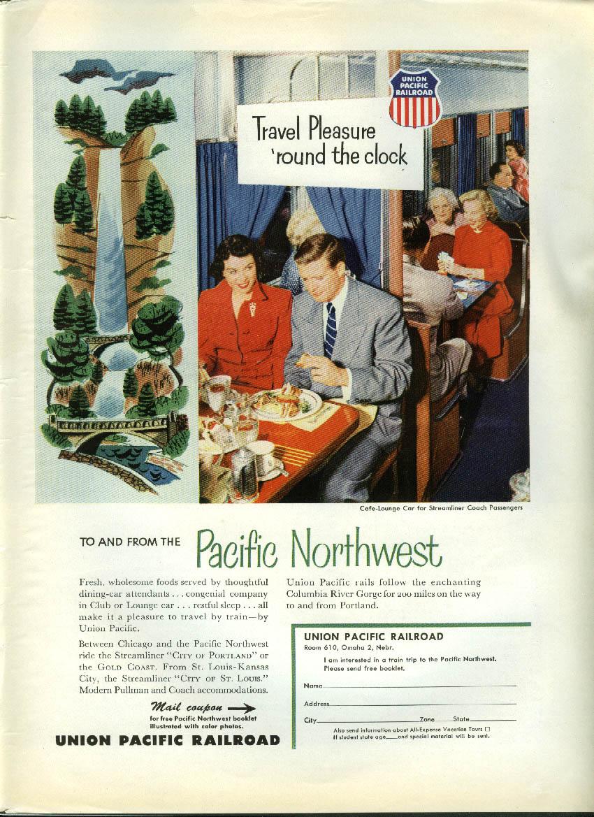 Image for Travel Pleasure 'round the clock Union Pacific Café-Lounge Car ad 1953