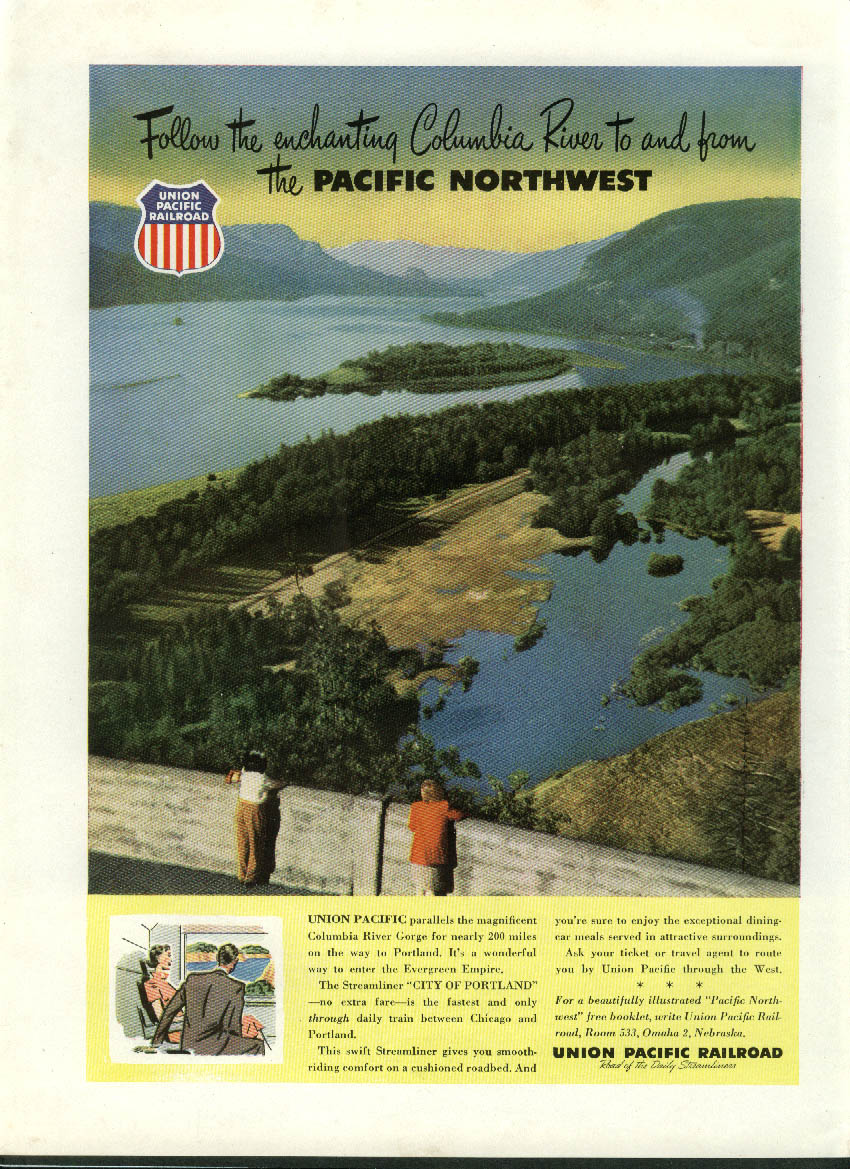 Image for Follow the enchanting Columbia River Union Pacific Railroad ad 1952