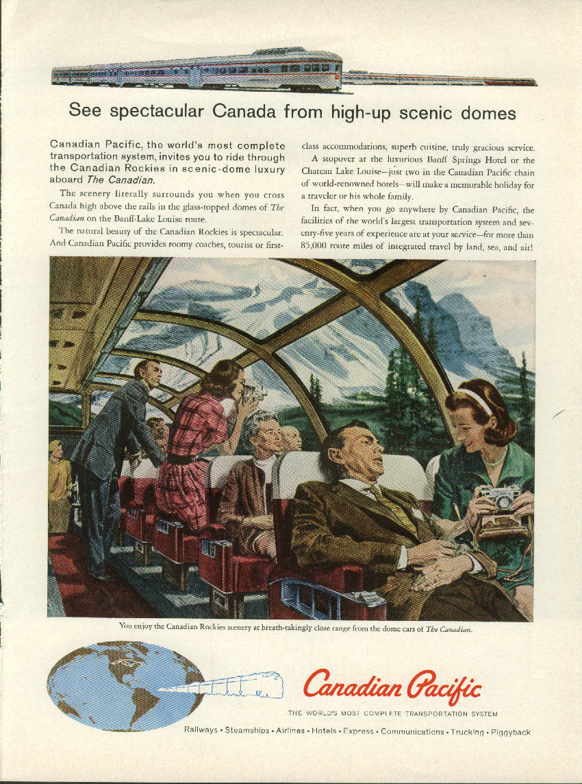 Image for See Spectacular Canada Canadian Pacific The Canadian Scenic-Dome ad 1960