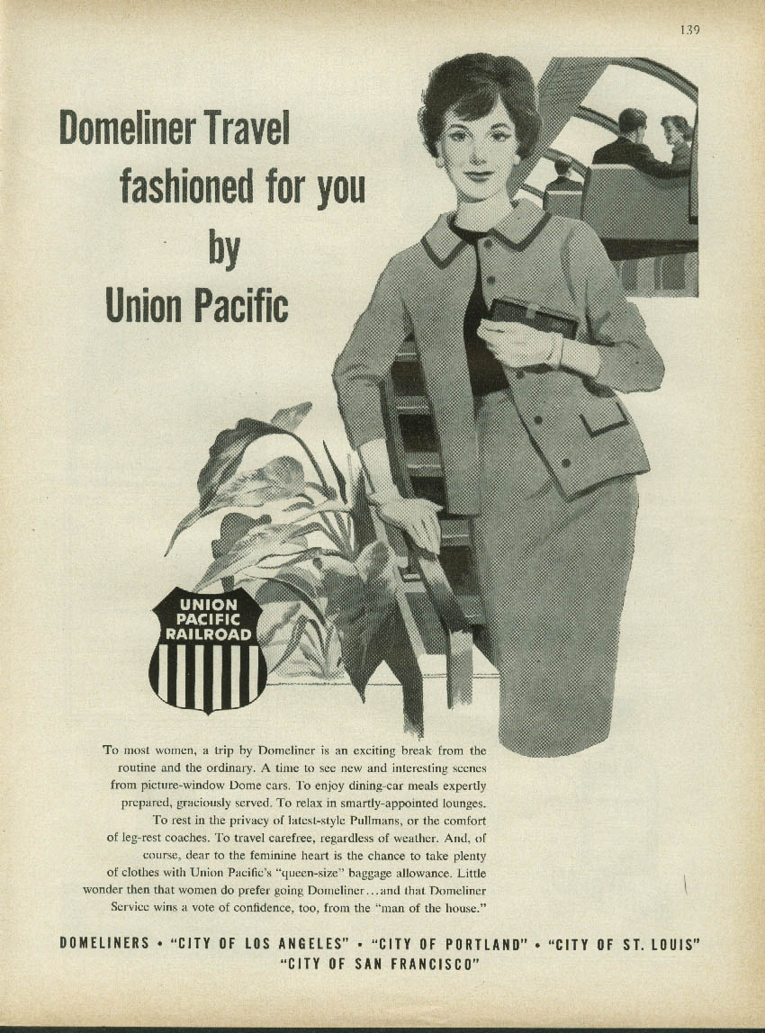 Image for Domeliner Travel fashioned for you by Union Pacific Railroad ad 1961