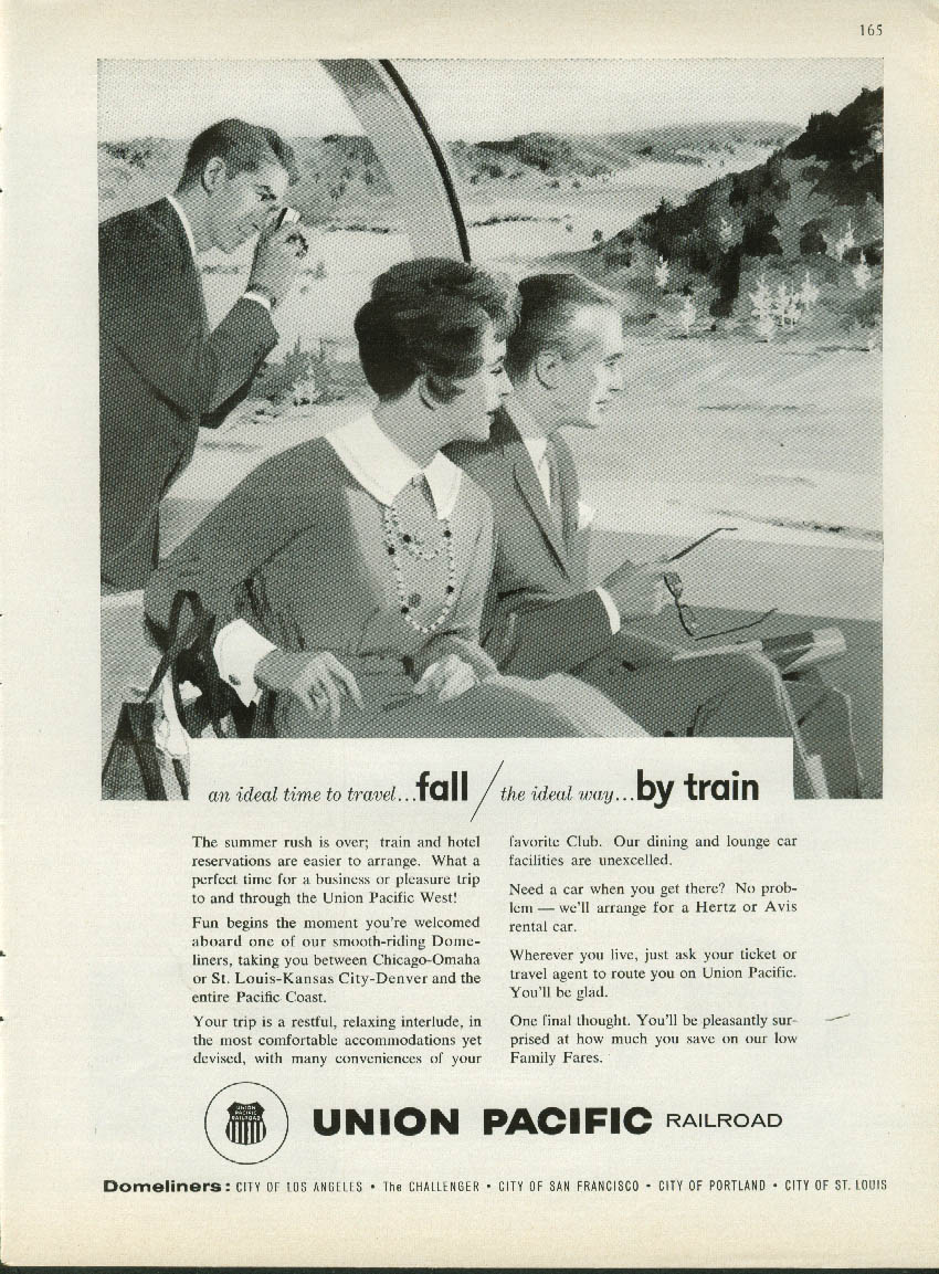 Ideal time - Fall Ideal way- Union Pacific Railroad Domeliner ad 1961