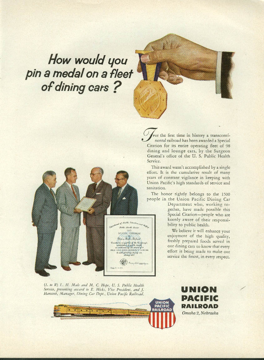 How would you pin a medal on a fleet of dining cars? Union Pacific RR ad 1956