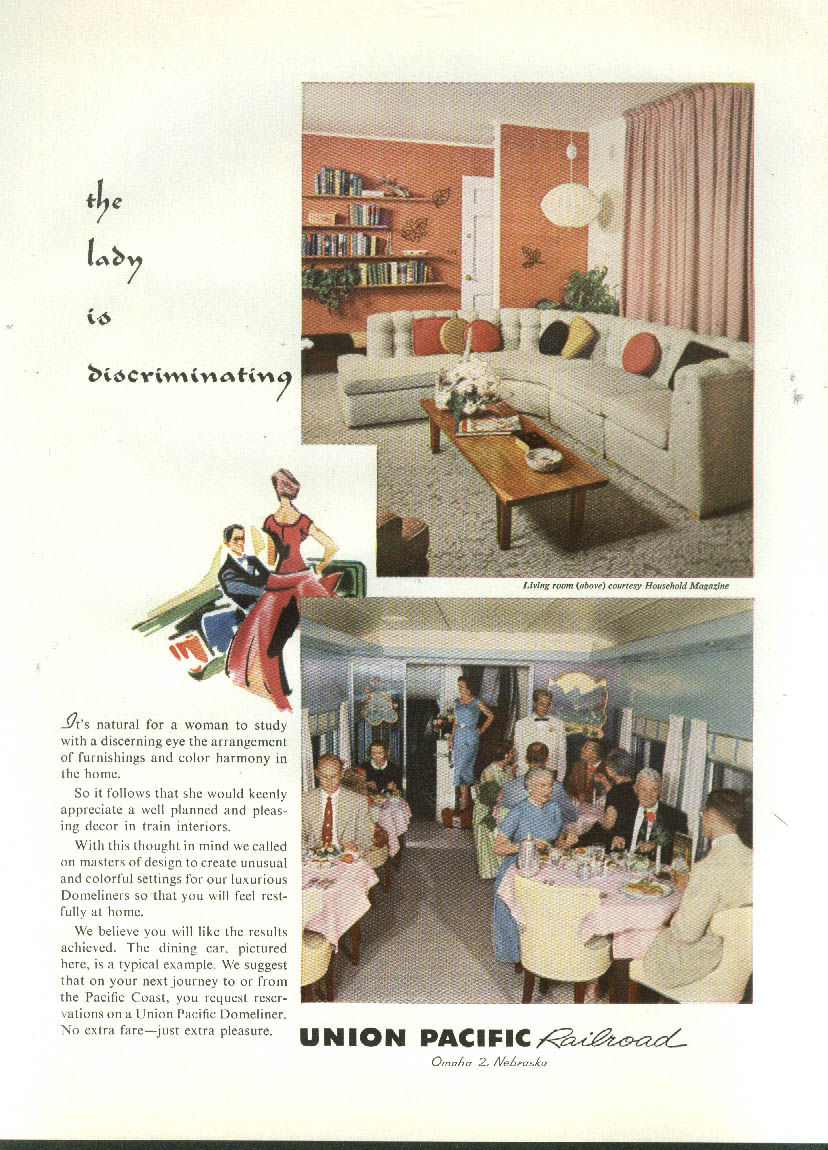 Image for The lady is discriminating Union Pacific Railroad Dining Car ad 1957