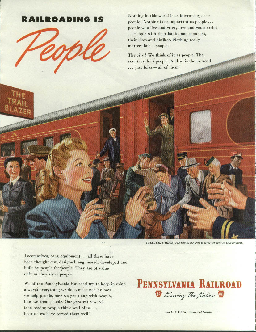 Image for Railroading is People - Pennsylvania RR The Trail Blazer ad 1945