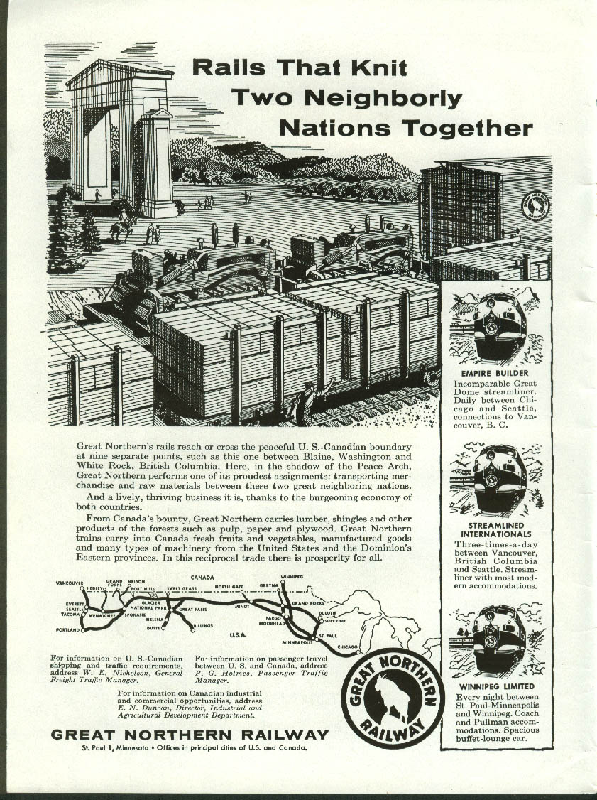 Image for Rails knit 2 neighborly nations USA - Canada Great Northern Railway ad 1957