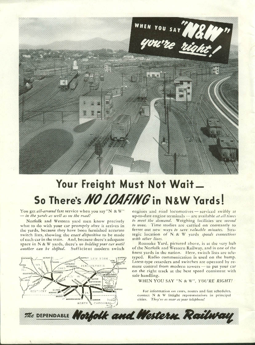 Image for Your freight must not wait No Loafing in Norfolk & Western Railway yards ad 1952