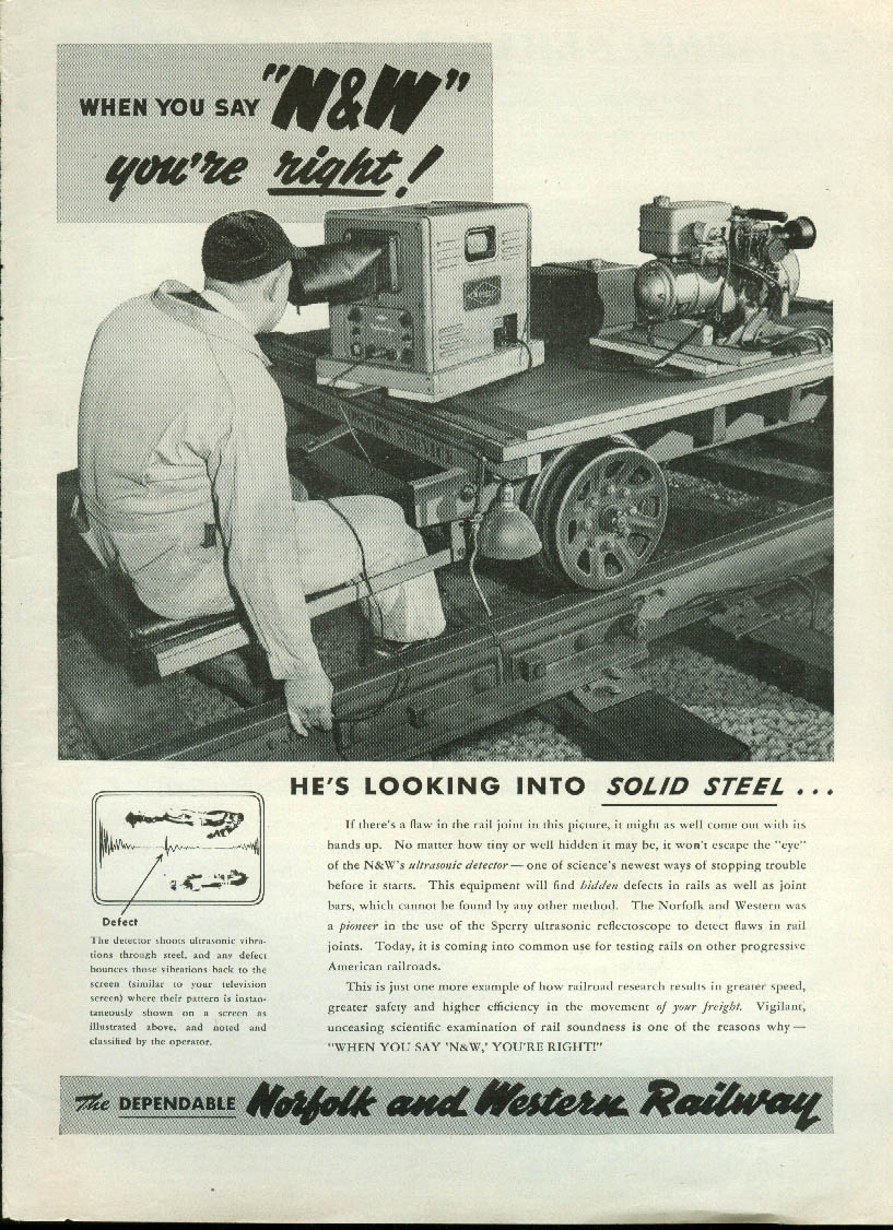 Image for He's looking into solid steel rail joints Norfolk & Western Railway ad 1952