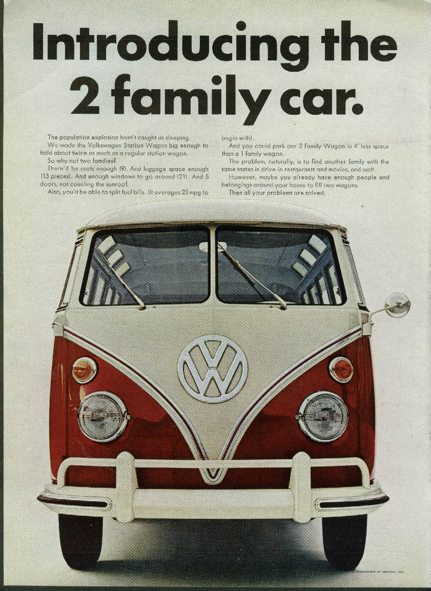 Image for Introducing the 2 family car Volkswagen Station Wagon ad 1966