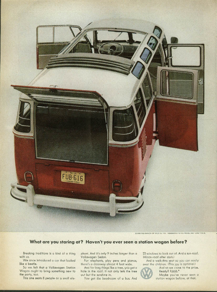 Image for What are you staring at? Haven't seen a Volkswagen Station Wagon before? Ad 1962