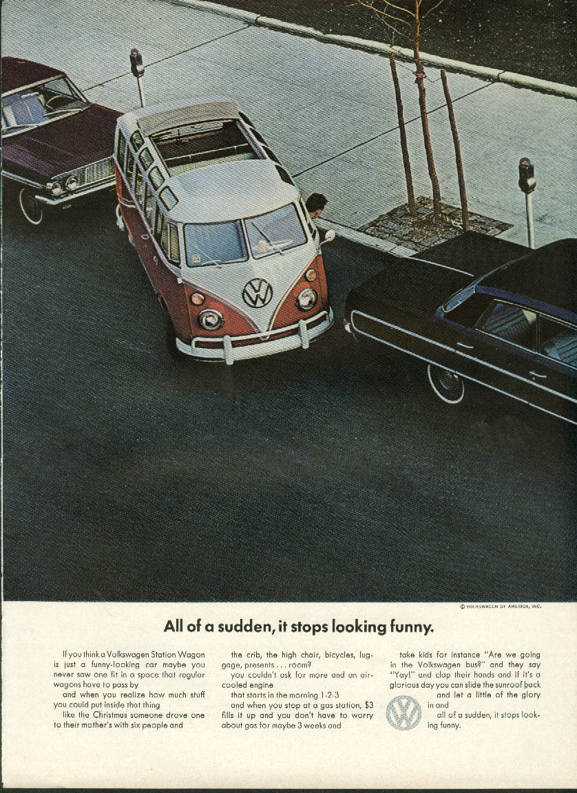 All of a sudden, it stops looking funny. Volkswagen Station Wagon ad 1964