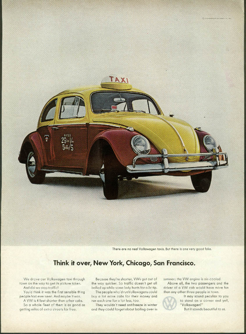 Image for Think it over, New York, Chicago, San Francisco. Volkswagen Sedan ad 1964
