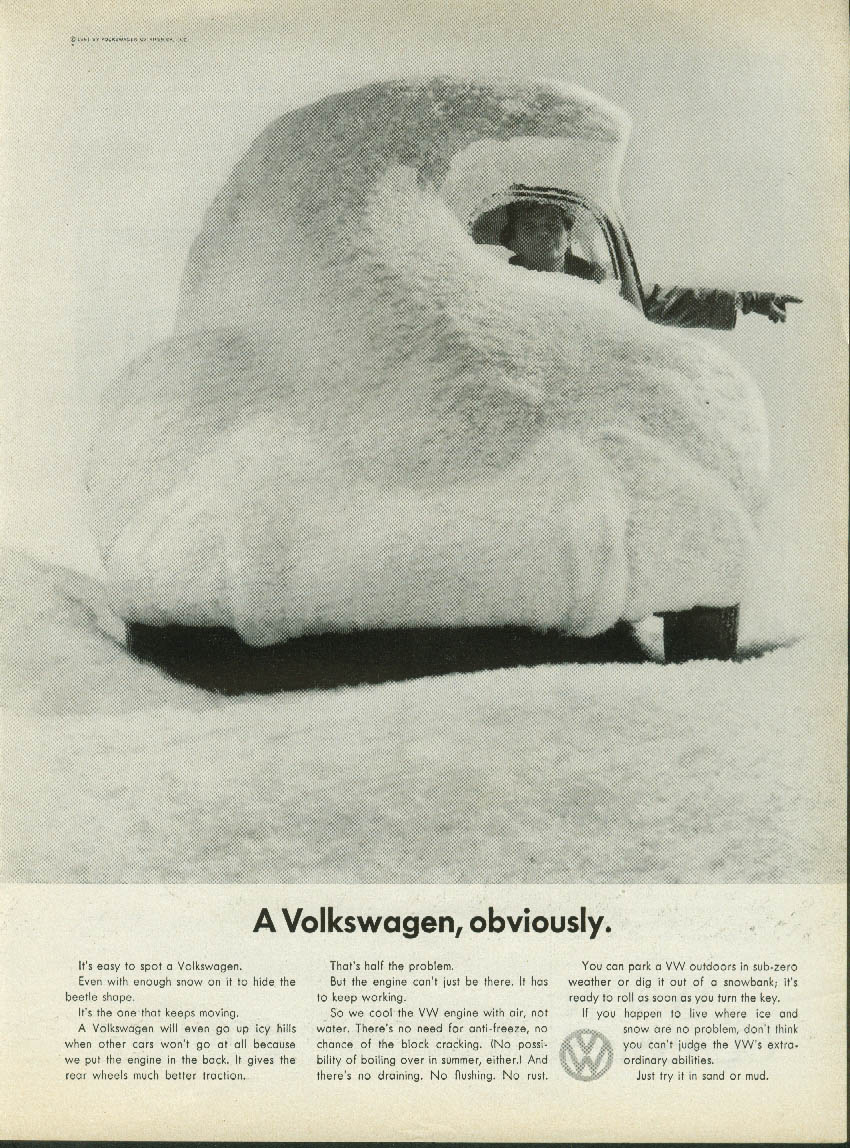 A Volkswagen, obviously. Ad 1961 sedan covered with snow