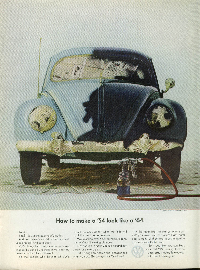 Image for How to make a '54 look like a '64 Volkswagen ad 1964