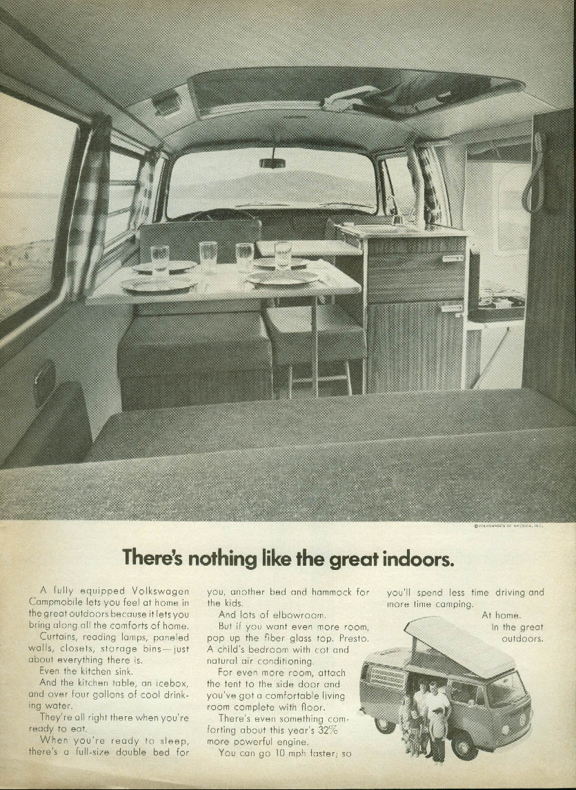 Image for There's nothing like the great indoors. Volkswagen Campmobile ad 1972