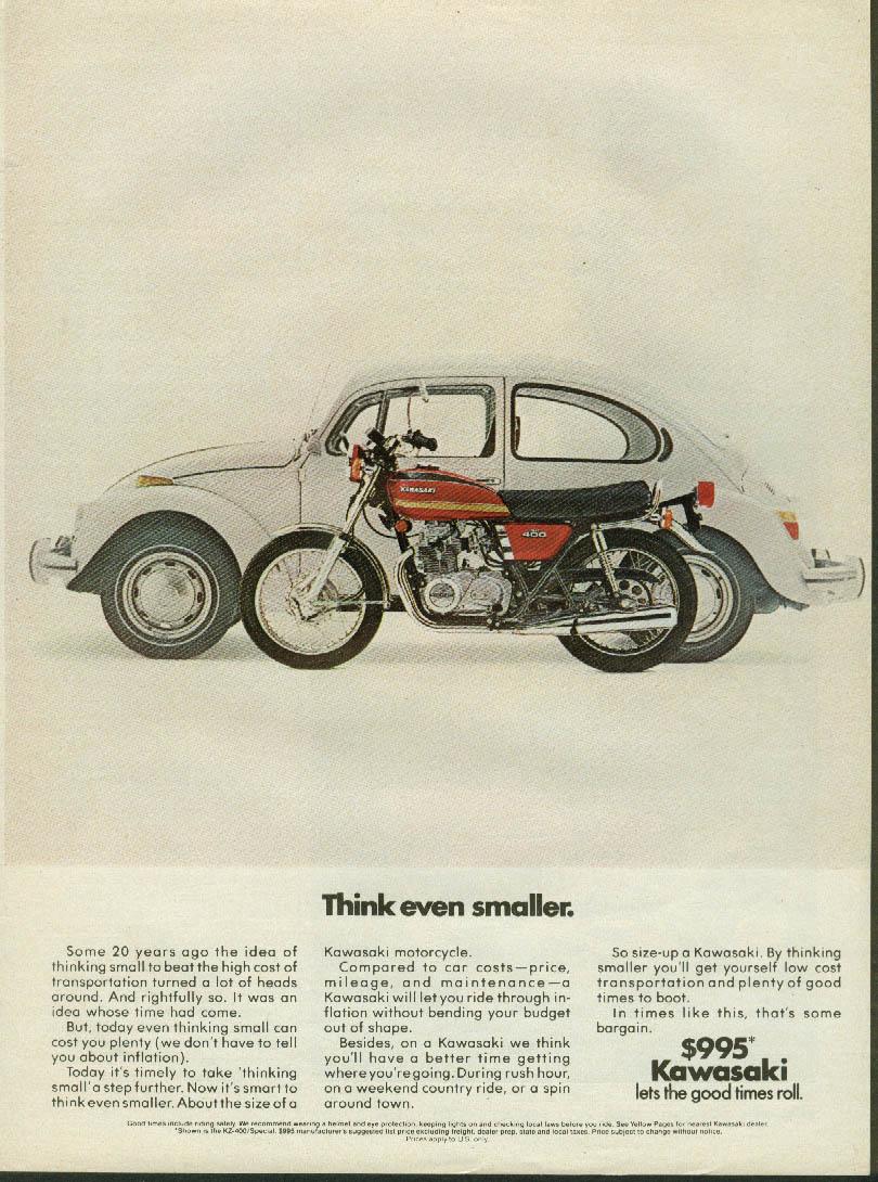 Image for Think even smaller Kawasaki 400 motorcycle $995 Volkswagen-style ad 1980s