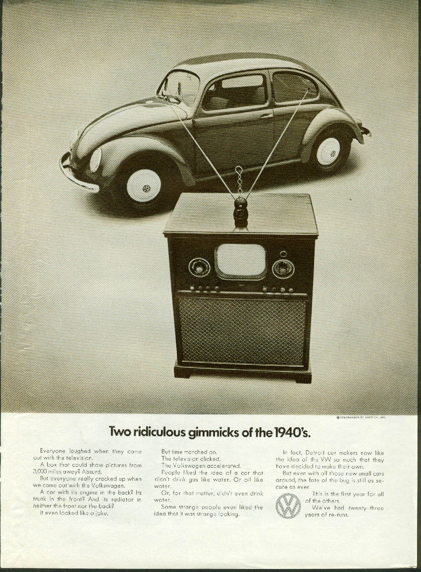 Image for Two ridiculous gimmicks of the 1940s Volkswagen & Television Set ad 1971