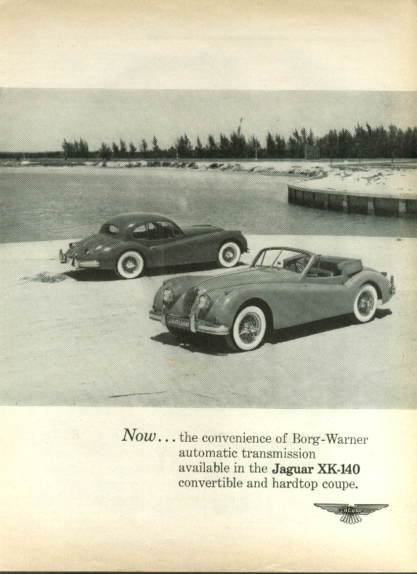 The convenience of Borg-Warner automatic transmission Jaguar XK-140 ad 1956