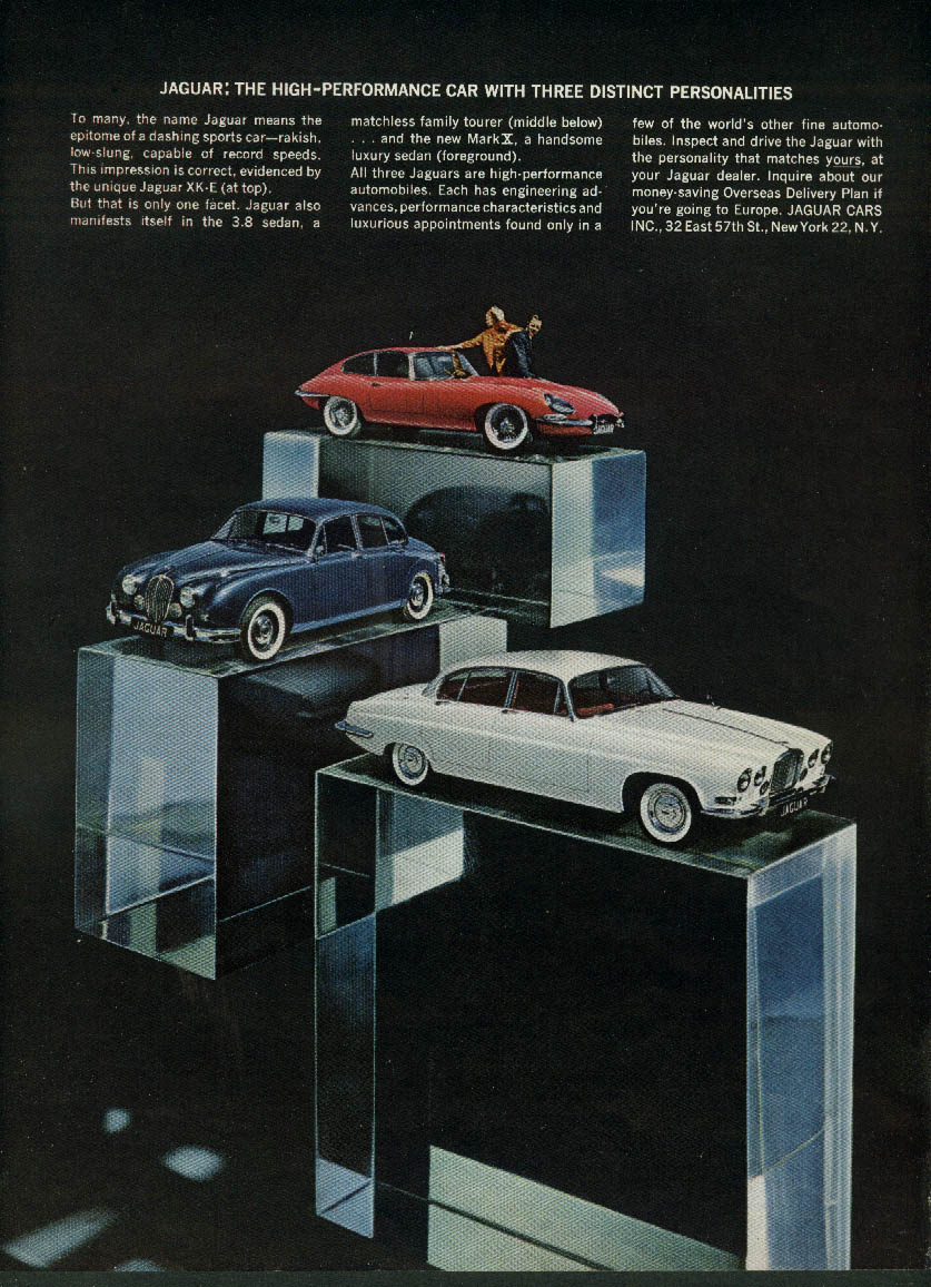 Image for High-Performance with 3 distinct personalities Jaguar XK-E 3.8 & Mark X ad 1963