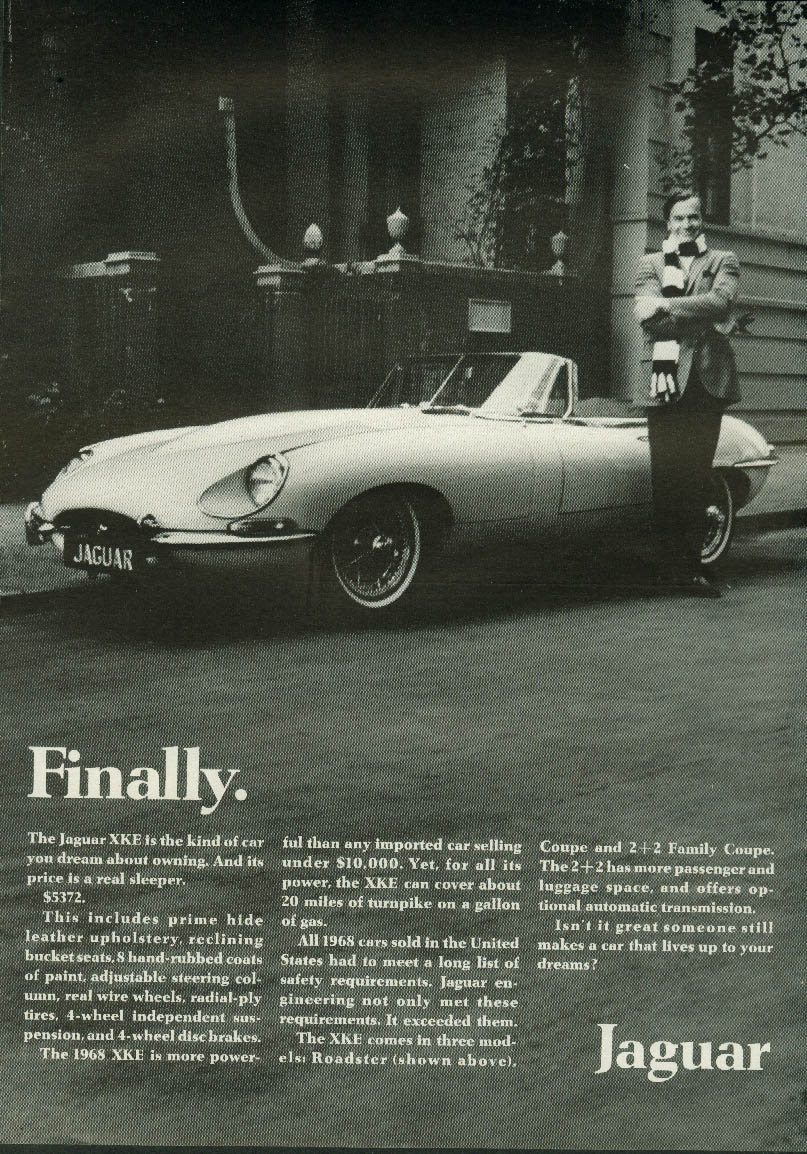 Finally. Its price is a real sleeper $5372. Jaguar XK-E Roadster ad 1968