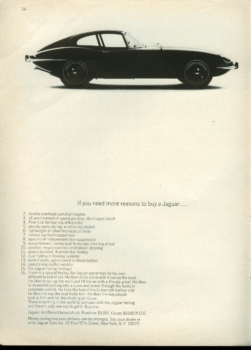 Image for If you need more reasons to buy a Jaguar XK-E Coupe 2-16 ad 1966